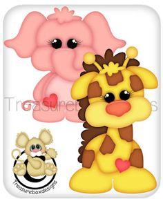 Digital Elephant and Giraffe Kids Punch, Paper Art, Paper Crafts, Cow Painting, Mini Canvas Art, Cute Bee, Cute Clipart, Felt Patterns, Pattern Cutting