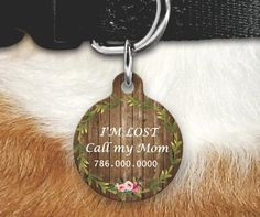 Floral Wood Pet Tag Girly Pet Tag Dog Tags For Dogs