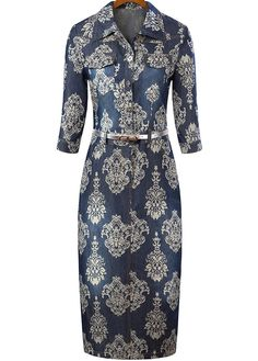 Navy Lapel Half Sleeve Floral Bodycon Dress 29.55
