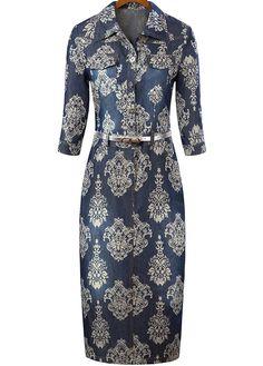 Navy Lapel Half Sleeve Floral Bodycon Dress 29.55