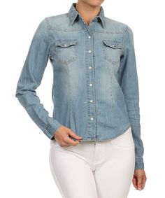 #kokette #zulily #trending #fashion #trendsetting #fashionfoward #vintage#rompers #LA #LAFashiondistrict #women #celebritystyle #springcollection #musthaves #ombre #trendy #wardrobe #spring #classy #gorgeous #TS1989 #springlook #beauty #makeup #NY #perfectoutfit #casualcomfy Look what I found on #zulily! Light Wash Denim Button-Up by Kokette #zulilyfinds