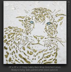Original Large abstract contemporary leopard painting white bronze gold palette knife impasto fine art by Susanna 24x24 - MADE TO ORDER. $300.00, via Etsy.