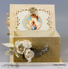 The inside is just stunning in this Precious Memories jewelry Box by Tati Scrap made from an ATC Book Box. Perfect for Mother's Day! #graphic45