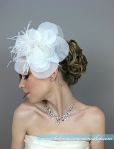 Bridal Hair Flowers, Wedding Hair Accessories, Bridal Oversize Hair Flowers - bridal headband, bridal hairband, cocktail hat, racing race on Etsy, $89.00