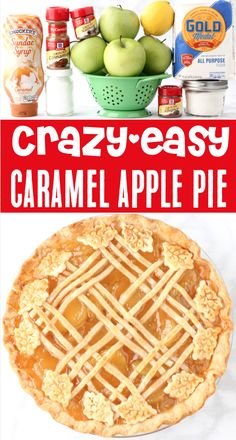 Caramel Apple Pie Recipe + Easy Homemade Filling!  With sweet apples, gooey caramel, and a buttery crust, this pie will vanish before your eyes!  Go grab the recipe and give it a try this week! Apple Pie Recipe Easy, Easy Pie Recipes, Apple Pie Recipes, Fruit Recipes, Dessert Recipes, Apple Pies, Diabetic Recipes, Köstliche Desserts, Delicious Desserts