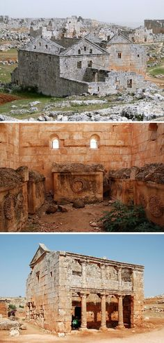 The Dead Cities called Ancient Villages of Northern Syria by UNESCO are a collection of Byzantine towns of architectural significance in the Al-Bara region. Ancient Ruins, Ancient Rome, Ancient History, Cultural Architecture, Ancient Architecture, Naher Osten, Ancient Discoveries, Archaeological Site, Ancient Civilizations