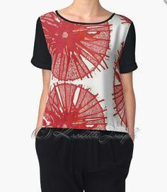 Red Mandala Chiffon Top http://www.redbubble.com/people/karlettejoseph/works/22770090-red?asc=u&p=chiffon-top&rel=carousel #chiffontop #chiffonblouse #red #mandala #art #ladieswear