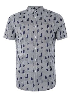 RELIGION Blue Geo Print Short Sleeve Shirt - Men's Shirts - Clothing - TOPMAN