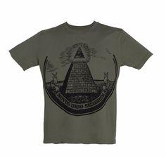"Green Dollar Bill Pyramid ""Illuminati"" Mens Tee"