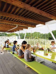 Architect built outdoor classroom for gardening program at Austin elementary school.