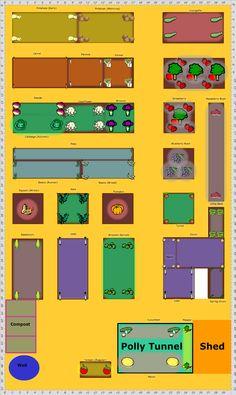 Garden Plan - Gorst Farm Allotments --what's a Polly tunnel? Fruit Garden, Vegetable Garden, Allotment Plan, Landscape Design, Garden Design, Allotments, Winter Food, Garden Planning, Backyard Landscaping