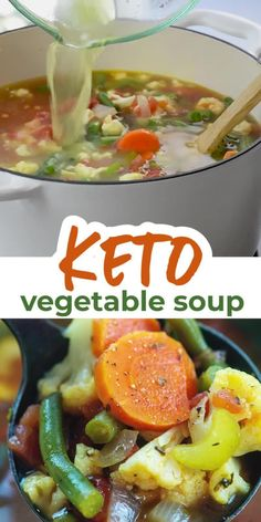 Low Calorie Vegetable Soup, Low Calorie Vegetables, Vegetable Soup With Chicken, Vegetable Soup Recipes, Veggie Soup, Vegetarian Soup, Keto Soup, Vegetable Carbs, Keto Recipes