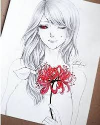 Drawing uploaded by tamtrac on PaigeeWorld: rize, tokyoghoul, fanart Manga Anime, Anime Art, Rize Tokyo Ghoul, Lineart Anime, Art Sketches, Art Drawings, Tokyo Ghoul Drawing, Wings Sketch, Red Spider Lily