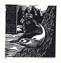 White Breasted Nuthatch Linoleum Block Print by JGTentas on Etsy