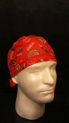 Coca Cola Coke Refreshing Drink Tie Back Surgical Scrub Hat by TipTopLids on Etsy