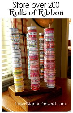 "How to store over 200 rolls of ribbon in a 12"" square area?"