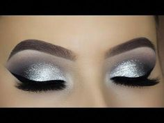 Classic Silver Glitter Eye Makeup Tutorial - Make-Up Halo Eye Makeup, Purple Eye Makeup, Eye Makeup Tips, Eyeshadow Makeup, Face Makeup, Makeup Ideas, Makeup Brushes, Prom Makeup, Natural Eyeshadow