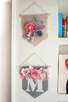 Floral pennant, baby shower banner, wall banner, f Felt Roses, Felt Flowers, Paper Flowers, Floral Flowers, Felt Diy, Felt Crafts, Diy And Crafts, Bridal Banner, Baby Shower Flowers