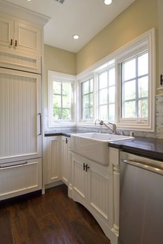 """""""white Cabinets"""" +granite +farmhouse Sink Design, Pictures, Remodel, Decor and Ideas too much beadboard and don't like the backsplash, but the wood floor sink and counter combo are nice"""