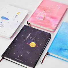 'Our Story Begins' Planetary Collection Notebook - DIY Stationery Galaxy Notebook, Cool School Supplies, Japanese School Supplies, Korean Stationery, Stationery Items, Japanese Stationery, Cute Stationary, Stationary Store, Murphy Bed Plans