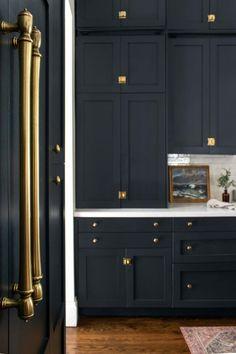 Black Kitchen Cabinets, Interior, Kitchen Cabinets, Remodel, Kitchen Remodel, Victorian Kitchen, Custom Refrigerator, Dark Kitchen, Classic Kitchens