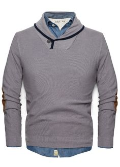 ELBOW PATCHES SHAWL-COLLAR SWEATER