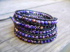 Beaded Leather Wrap Bracelet 5 Wrap with Purple Violet Jasper Beads on Black Leather