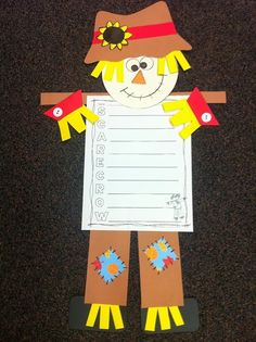 Scarecrow Craft and Writing Activities by Bright Concepts 4 Teachers Thanksgiving Crafts, Fall Crafts, Holiday Crafts, Scarecrow Crafts, Halloween Crafts, Scarecrows, Autumn Art, Autumn Theme, Holiday Activities
