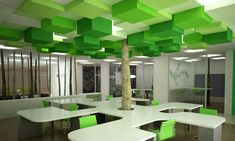 This is quite suitable for the open plan office design. They tried to create a tree with different size of the form which play with monocromatic colour so that ppl kinda like close with nature even they are working at indoor Education Architecture, School Architecture, Interior Architecture, Corporate Interiors, Office Interiors, Kindergarten Design, Healthcare Design, Library Design, Learning Spaces