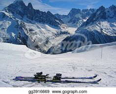 """Skiers and Mer de Glace glacier"" - Winter Stock Photo from Gograph.com"