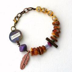 Boho Bracelet Meaningful Jewelry Funky Chunky by ThreeTrees, $34.00