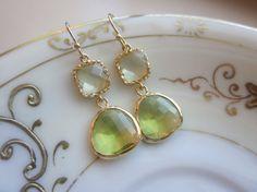$32 Peridot Earrings Green Citrine Block Gold Plated by laalee