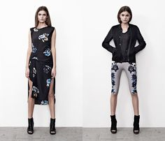 (4a) Peony Riviera Dress - (4b) Peony Short Leggings - AllSaints 2013 Spring Summer Womens Lookbook