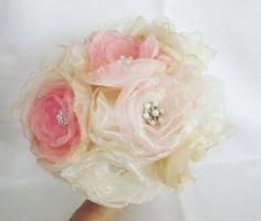 SALE Handmade Bridal Fabric Flower Brooch  Bouquet by Weddingzilla, $119.00