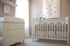 "Beautiful taupe and white baby girl nursery with a Pottery Barn Kids Kendall crib and dresser and ""Lambie"" baby bedding set."