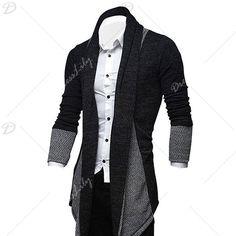Turndown Collar Longline Color Block Cardigan - DEEP GRAY 2XL