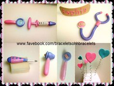 Made my me Nicole.Doc McStuffins Cake all Doc's little check-up tools - For a Doc McStuffins Cake all Doc's little check-up tools, magnifying glass,medicine injector Big bandaid with her name on it,stethoscope,thermometer,ophthalmoscope, corky hearts all edible dusted with shimmer. looks so cute!