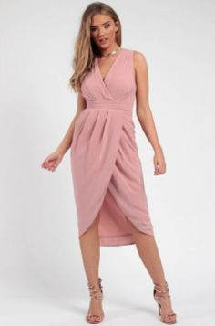 Pleated Wrap Midi Dress pink