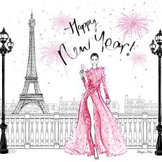 Happy New Year illustration by Megan Hess and our designer Megan Hess Illustration, New Year Illustration, Illustration Mode, Ilustración Megan Hess, Kerrie Hess, Sketch Background, New Year Pictures, Quotes About New Year, Year Quotes