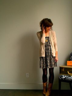 dress, cardigan, patterned tights, and boots. Easy on the eyes.