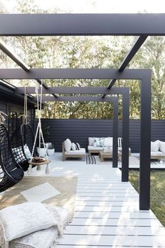 This Three Birds alfresco area is an entertainer's dream back patio furniture, outdoor seating area, outdoor living room furniture and hanging chair Modern Pergola, Pergola Patio, Backyard Patio, Pergola Kits, Modern Patio, Cheap Pergola, Pergola Shade, Modern Backyard Design, Black Pergola