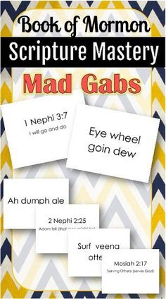 free printable picture of the book of mormon | Free printable mad gabs for Book of Mormon Scripture Mastery! These ...