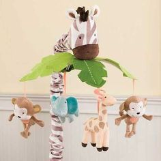 Jungle Animals Monkey Elephants and Giraffe Baby Boy Nursery Crib Musical Mobile | eBay
