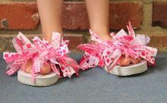 Cute rag flip-flops. No sew!