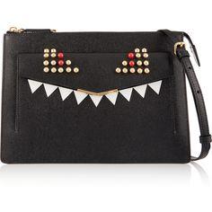 Fendi 2Jours embellished textured-leather shoulder bag (12.402.145 IDR) ❤ liked on Polyvore featuring bags, handbags, shoulder bags, clutches, fendi, accessories, bolsas, black, zipper handbag and evening handbags