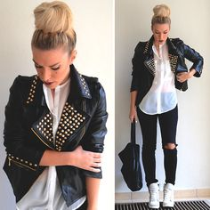 Choies Studded Leather Jacket, Romwe Sheer Shirt, Asos Sneaker Wedges, H Ripped Jeggings