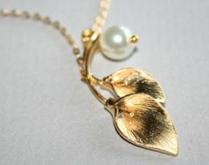 Gold Lily Flower Necklace with white pearl - silver available