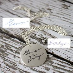 Don't allow your written memories to fade in a musty attic. Have them etched in silver and wear them close to your heart. Each piece is customized for it's wearer with their personal writing. #ScriptedJewelry