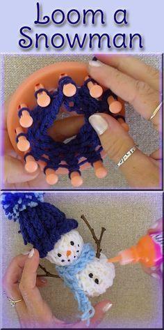 EasyMeWorld: Easy Snowman Christmas Ornament - A step by step tutorial. An easy . EasyMeWorld: Easy Snowman Christmas Ornament – A step by step tutorial. An easy enough loom proje Loom Knitting For Beginners, Round Loom Knitting, Spool Knitting, Loom Knitting Projects, Loom Knitting Patterns, Finger Knitting, Yarn Projects, Knitting Looms, Free Knitting
