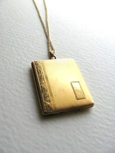 Oversized book locket necklace on long chain by MySoCalledVintage, $86.00